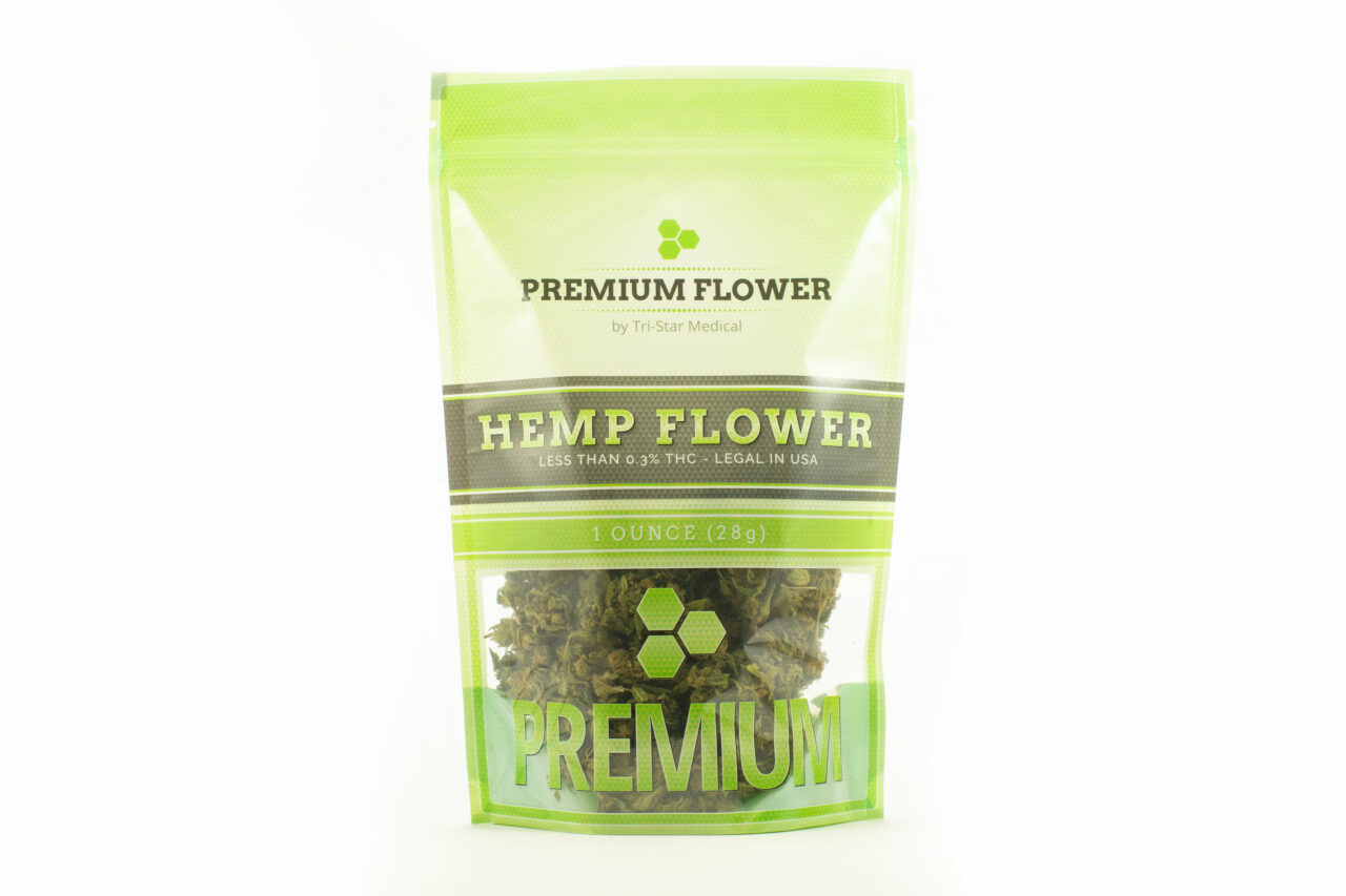 Premium Flower by Tri-Star Medical. Image of 1oz branded bag filled with 1oz of premium hemp flower.