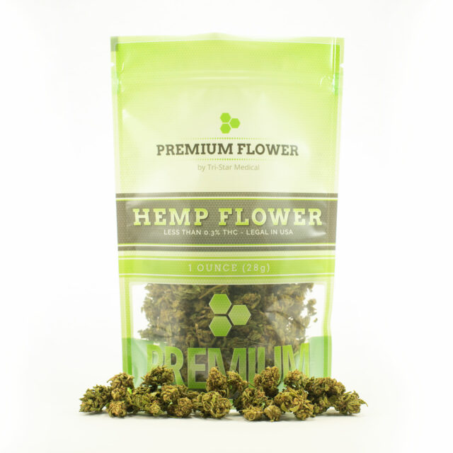 Premium Flower by Tri-Star Medical. Image of 1oz branded back filled with premium hemp flower. Hemp flower pictured in front of bag too.