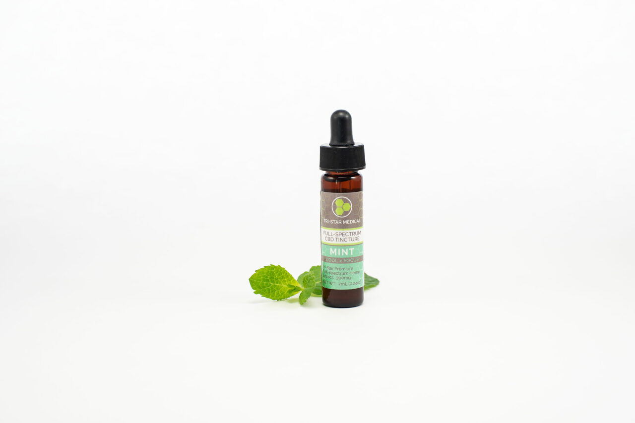 Premium Mint Full-Spectrum CBD Tincture 300mg. Image of product bottle next to a few mint leaves.